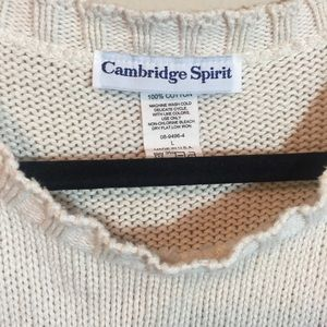 Vintage Sweaters - Vintage American Flag Cream Knit Pullover Sweater